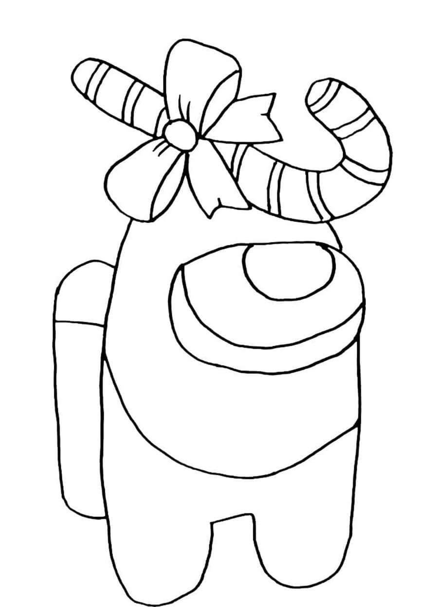 Among Us With Candy Cane Coloring Pages Cartoon Coloring Pages Candy Cane Coloring Page
