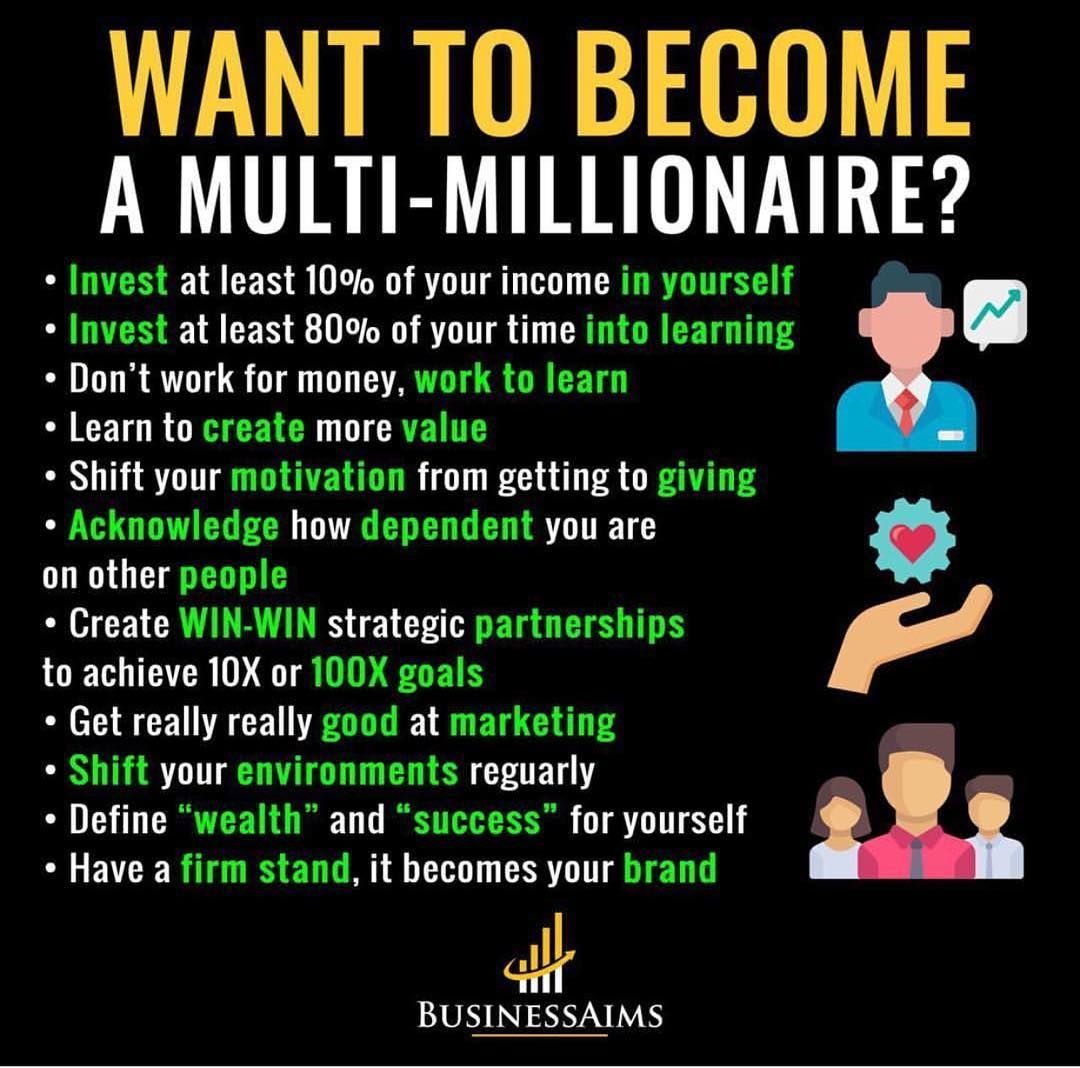 """Financial Professional on Instagram: """"Are you working on becoming a multi millionaire 💰? Putting in that work? Or not doing anything with your time 👌 . 👉@financialprofessional📈…"""""""