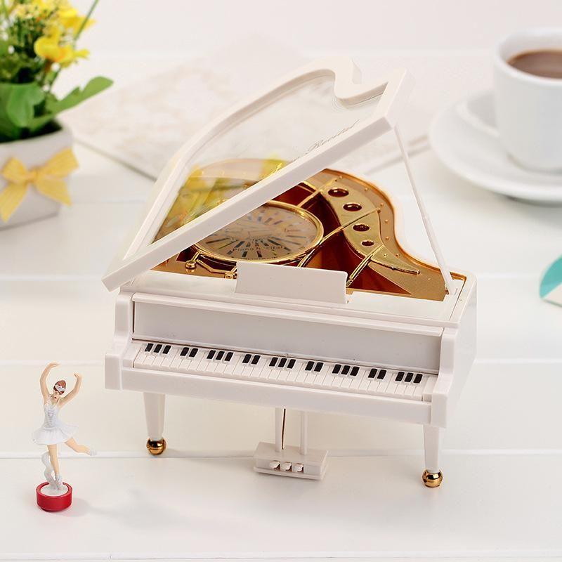 Wind Up Ballet Girl Dancing Ballerina on Piano Music Box Clockwork Model Toy