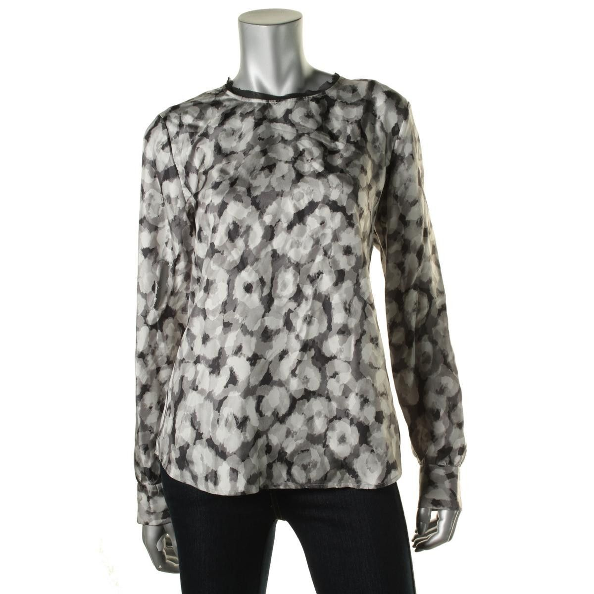 Theory Womens Juniors Silk Printed Blouse