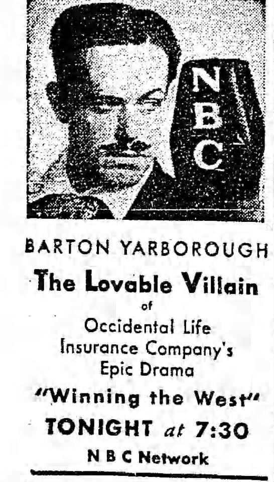 Barton Yarborough 1934 Old Time Radio Nbc Network Golden Age