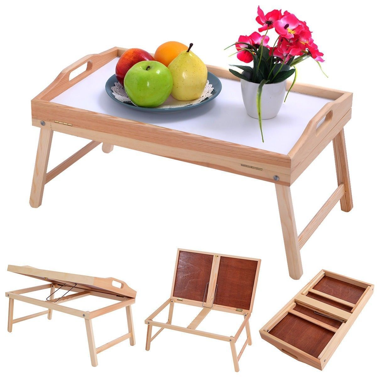 Folding Tv Dinner Laptop Table Desk Bed Tray Pine Wood