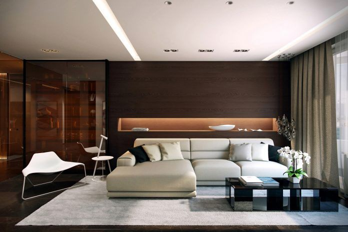 Minimalistische wohnung designs ideen mit entspannenden beleuchtung