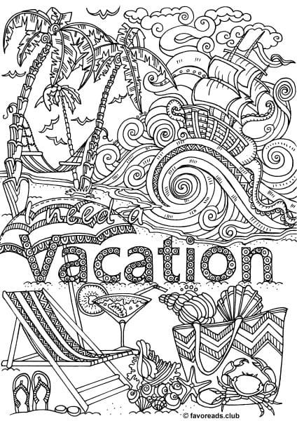 Woman s Adventure Vacation Coloring Pages for Adults