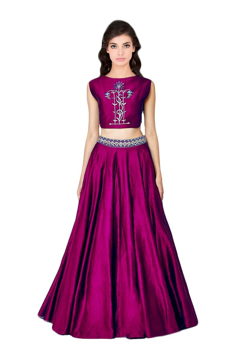 4b1b670c25 Purple embroidery taffeta silk unstitched lehenga choli Sem Stitched ...