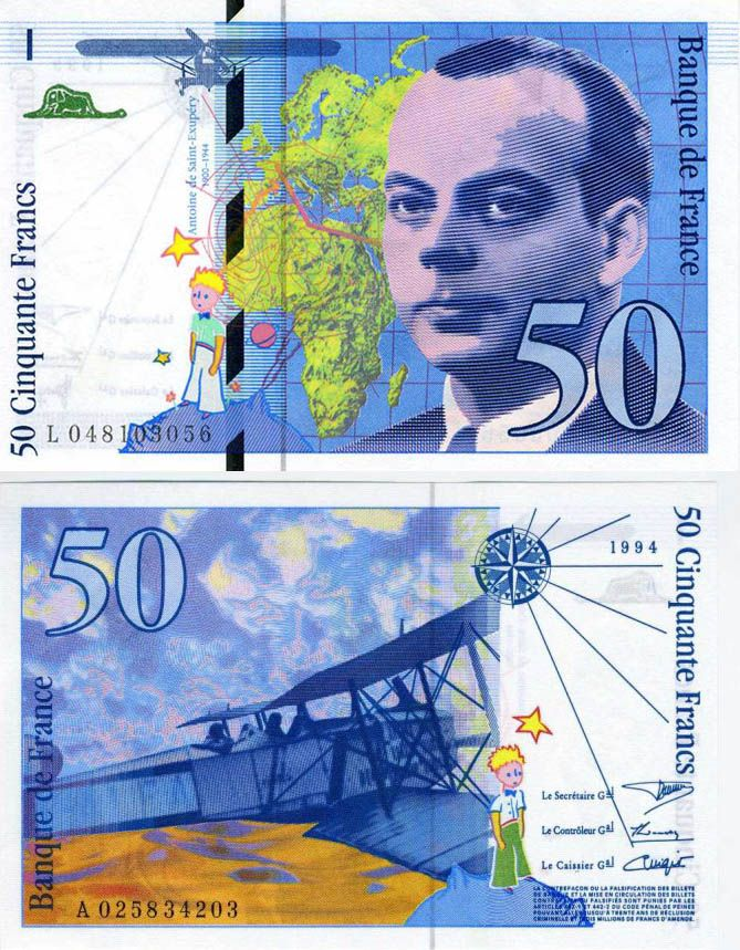 50 Francs Currency Design Bank Notes The Little Prince
