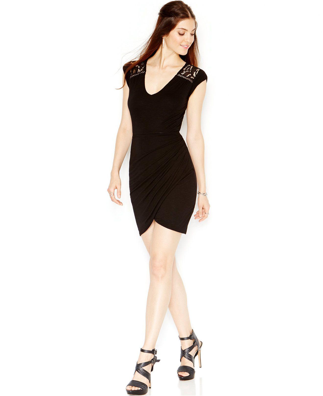 8227add778c GUESS Open-Back Crochet-Inset Bodycon Dress - Juniors Dresses - Macy s