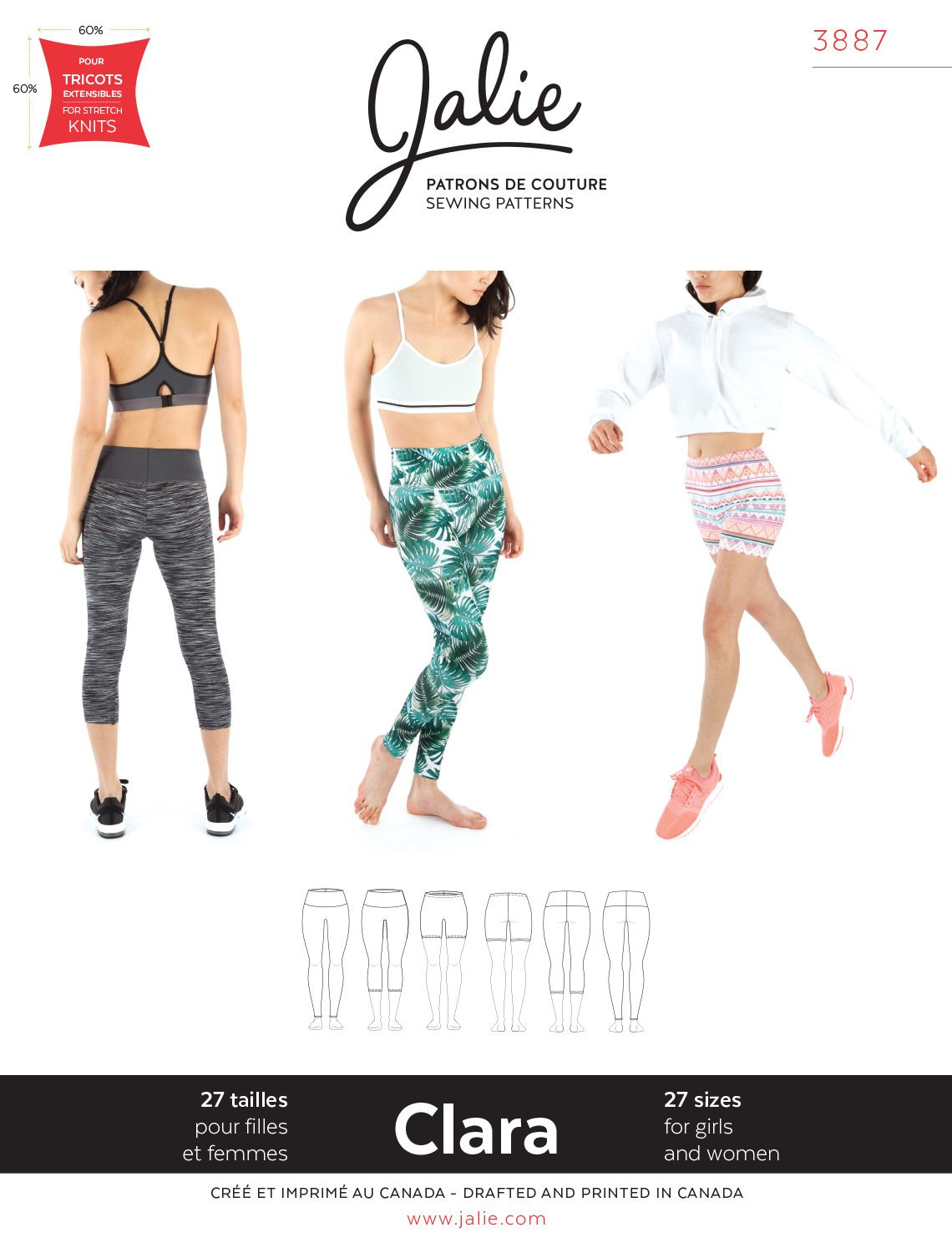 Jalie 3887 CLARA HIGH-WAISTED LEGGINGS | PATRONES SPORT | Pinterest ...