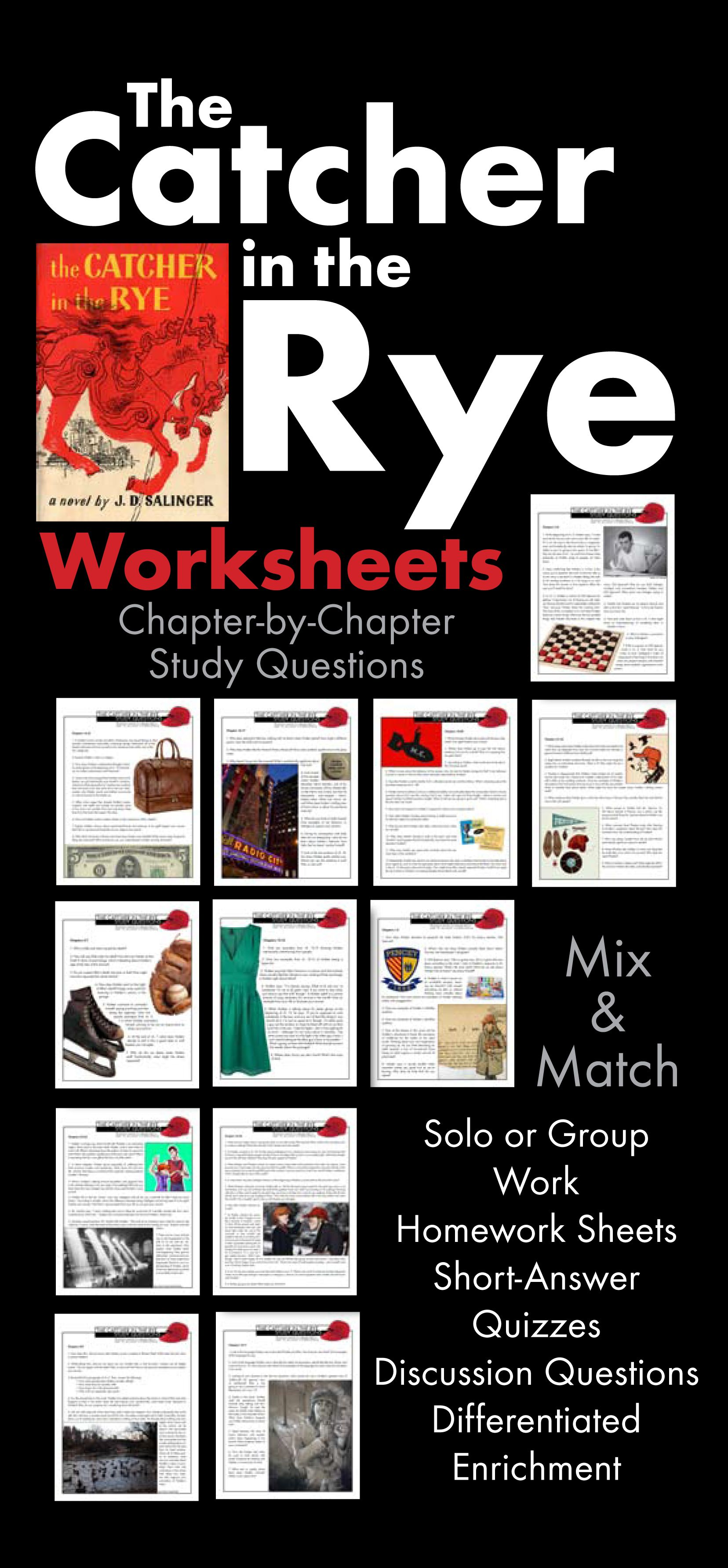 Worksheets Catcher In The Rye Worksheets catcher in the rye worksheets quizzes discussion hw for j d salingers novel