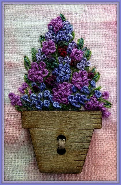 Pot of flowers french knots and button embroidery