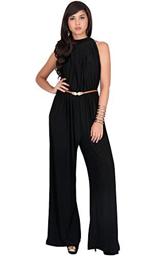 ea4c314229d KOH KOH Plus Size Womens Sexy Sleeveless Halter-Neck Wide Leg Pants Cocktail  Overall Long