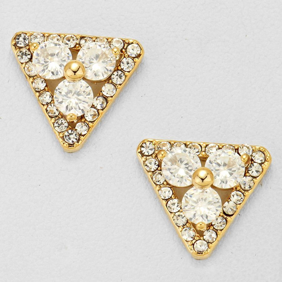 Cubic Zirconia Floral Triangle Earrings