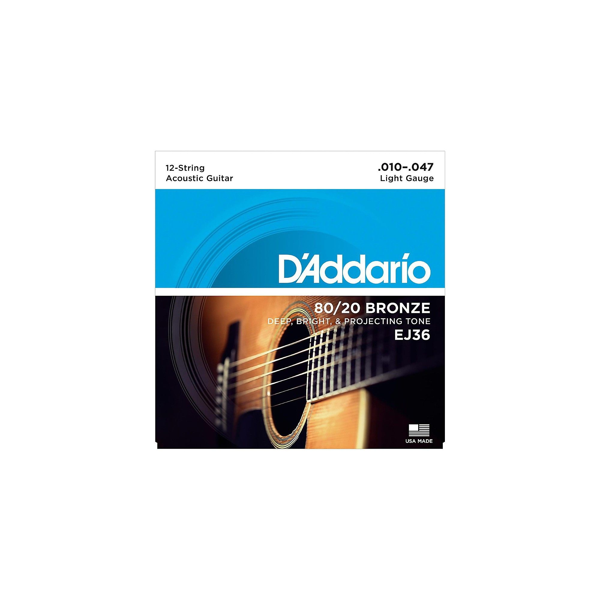 D/'Addario EJ36 80//20 Bronze 12-String acoustic guitar strings Light .010-.047
