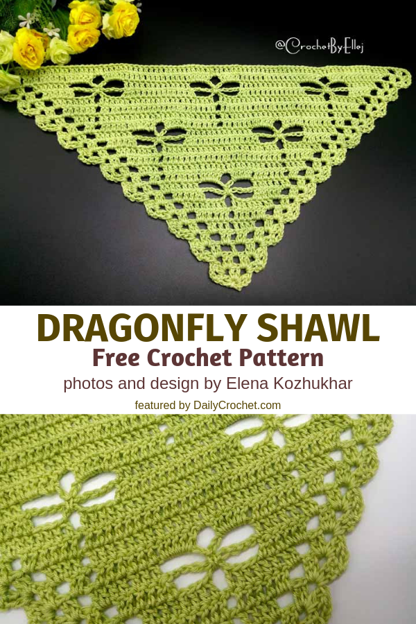 This Crochet Dragonfly Stitch Shawl Will Delight Any Dragonfly Lover Out There #shawlcrochetpattern
