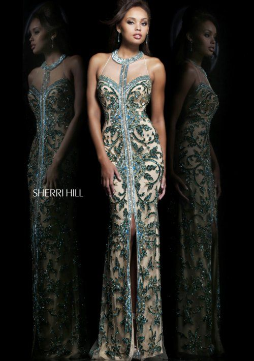 8598c8f05e Gorgeous long nude prom dress 2014 by Sherri Hill with exotic beaded green  print overlay and front slit