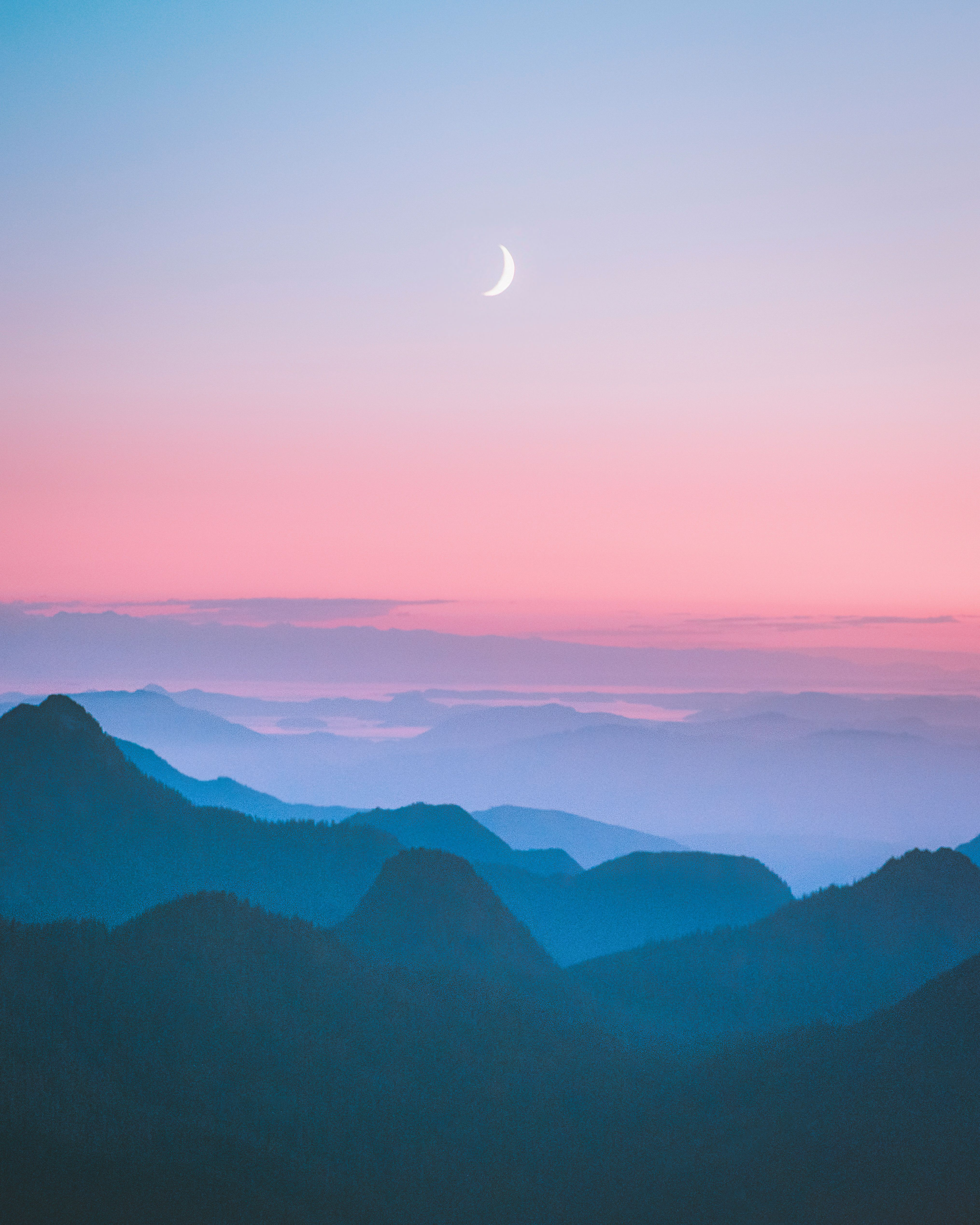 Crescent Moon In 2020 Aesthetic Painting Pastel Landscape Mountain Paintings