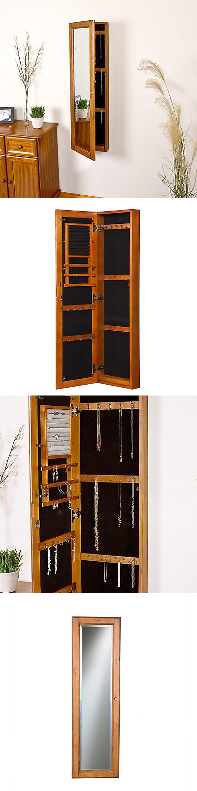 Delicieux Jewelry Boxes 3820: Wall Mount Mirror Jewelry Armoire Wood Cabinet Storage  Box Ring Organizer Oak
