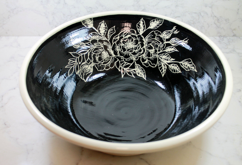 Modern Flower Serving Bowl Pasta Bowl Cream Amp Black