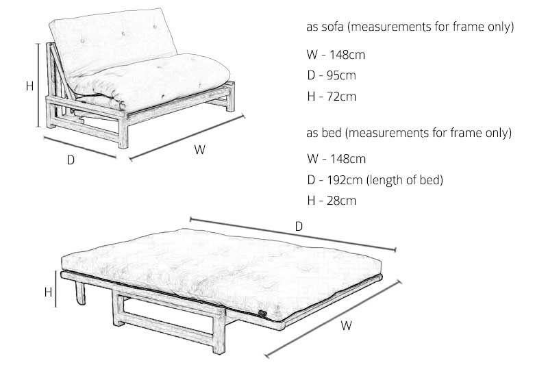 Linear 2 Seater Birch Double Sofa Bed Ekkor 2019 Futon