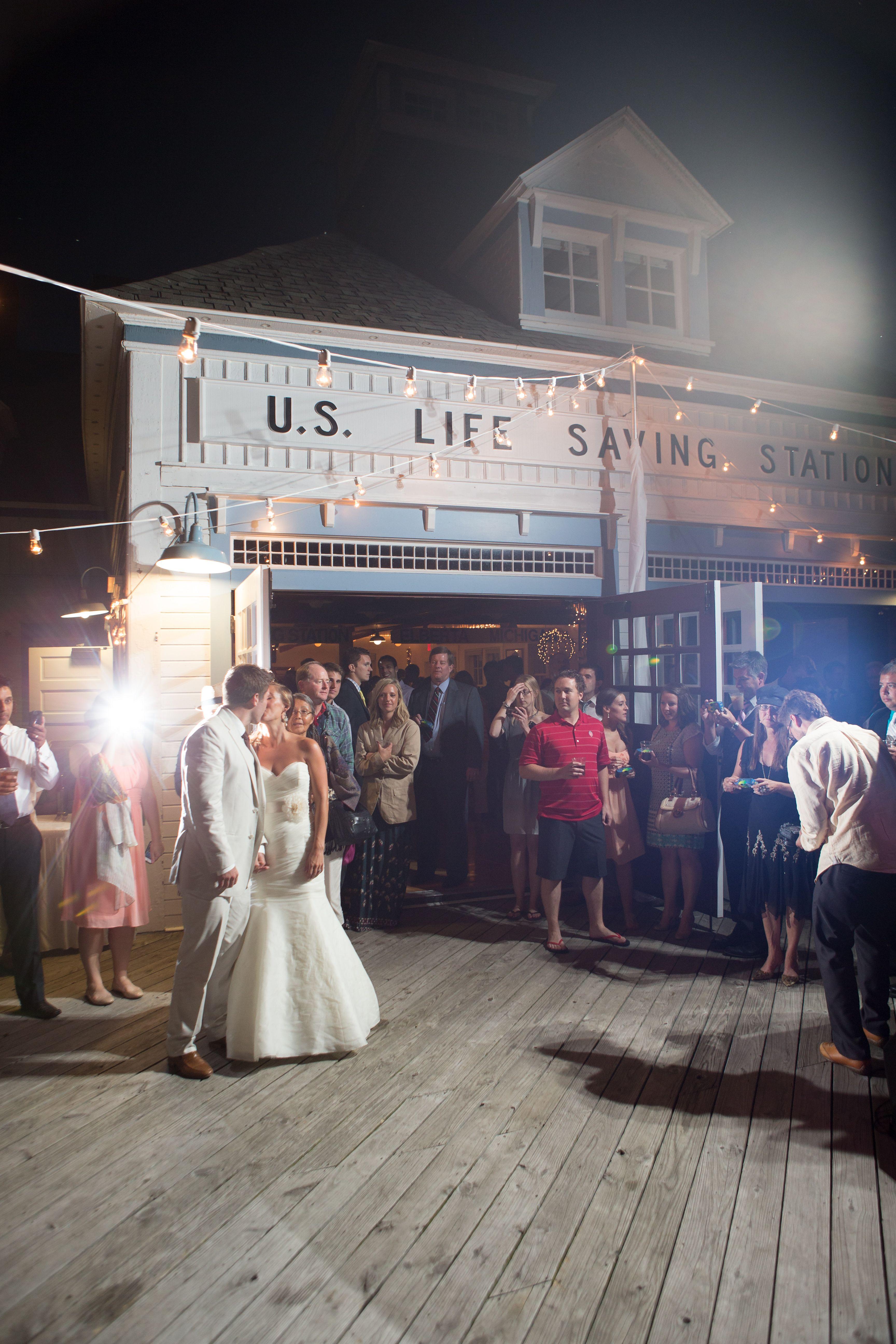 Outdoor Wedding Reception Northern Michigan Elberta Life Saving Station First Dance Photo