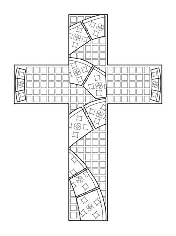 Mosaico en forma de cruz Dibujo para colorear | cruz