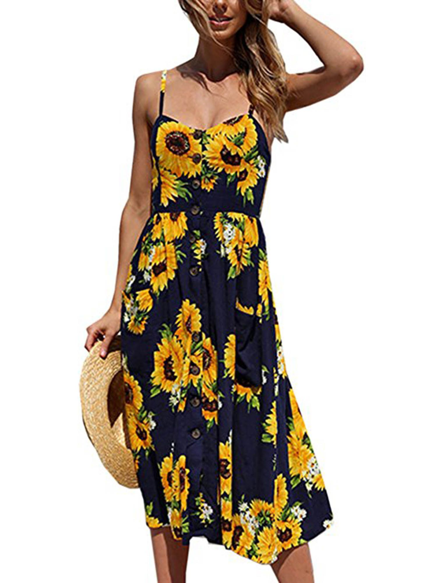 Topcobe Sides Slipt Up Summer Beach Boho Dresses For Women Evening Party Cocktail Long Maxi Dr Casual Summer Dresses Summer Dresses For Women Midi Swing Dress [ 2000 x 1500 Pixel ]