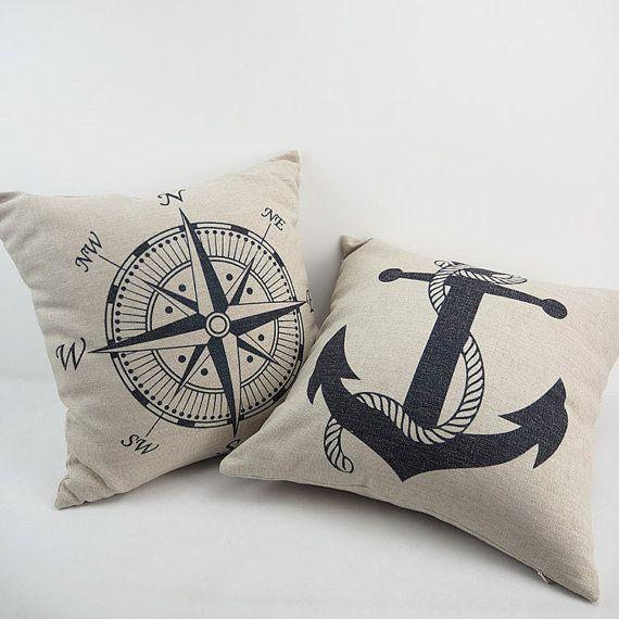 Throw Pillow Nautical Pillow Anchors Pillows Decorative Pillows