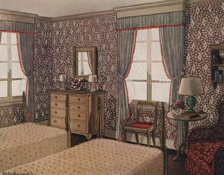 Another View Of The Same Room Painted By Pierre Brissaud From House Gardens Complete Guide To Interior Decoration 1947 Edition