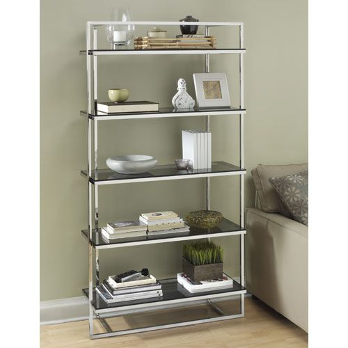 Manhattan Polished Stainless Steel Bookcase Free Standing Shelves &  Bookcases Home Office - TAG Furnishings Group Manhattan Polished Stainless Steel Bookcase