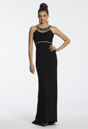 Beaded Sheer Back Jersey Dress from Camille La Vie and Group USA ...