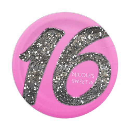 Pink Sweet 16 Silver Glitter Glam Birthday Party Paper Plate  sc 1 st  Pinterest & Pink Sweet 16 Silver Glitter Glam Birthday Party Paper Plate | Pink ...