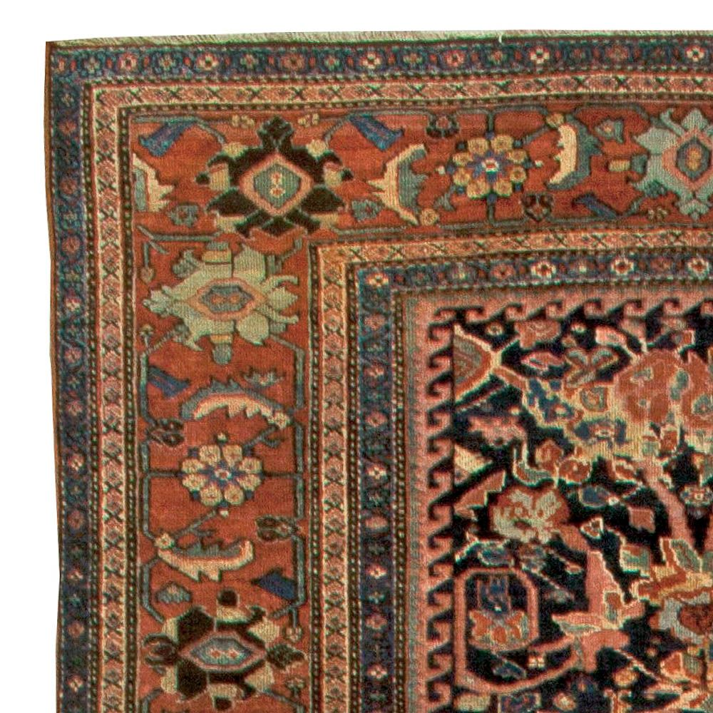 (detail) A late 19th century antique carpet. Persian Sultanabad (now Arak in northwest Iran) hand knotted wool with floral ornaments.