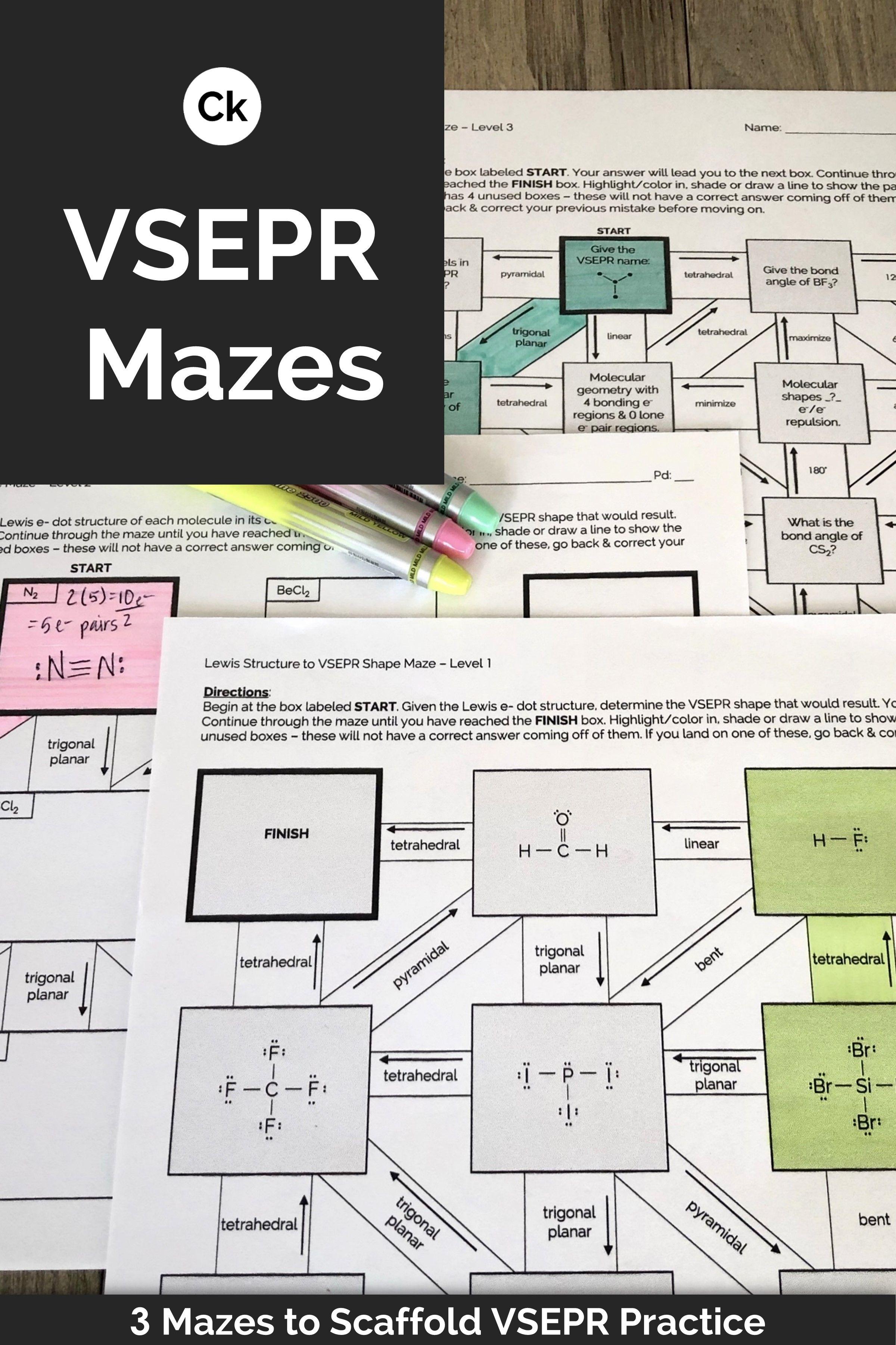 Vsepr Theory 3 Levels Of Mazes Vsepr Theory Kids Worksheets Printables Radical Expressions