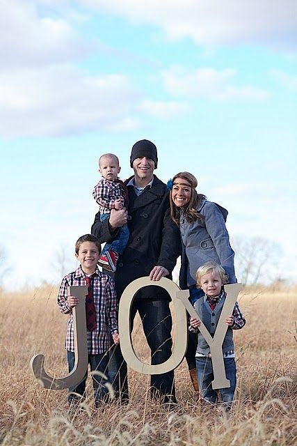 Family Photo Ideas Holding Letters