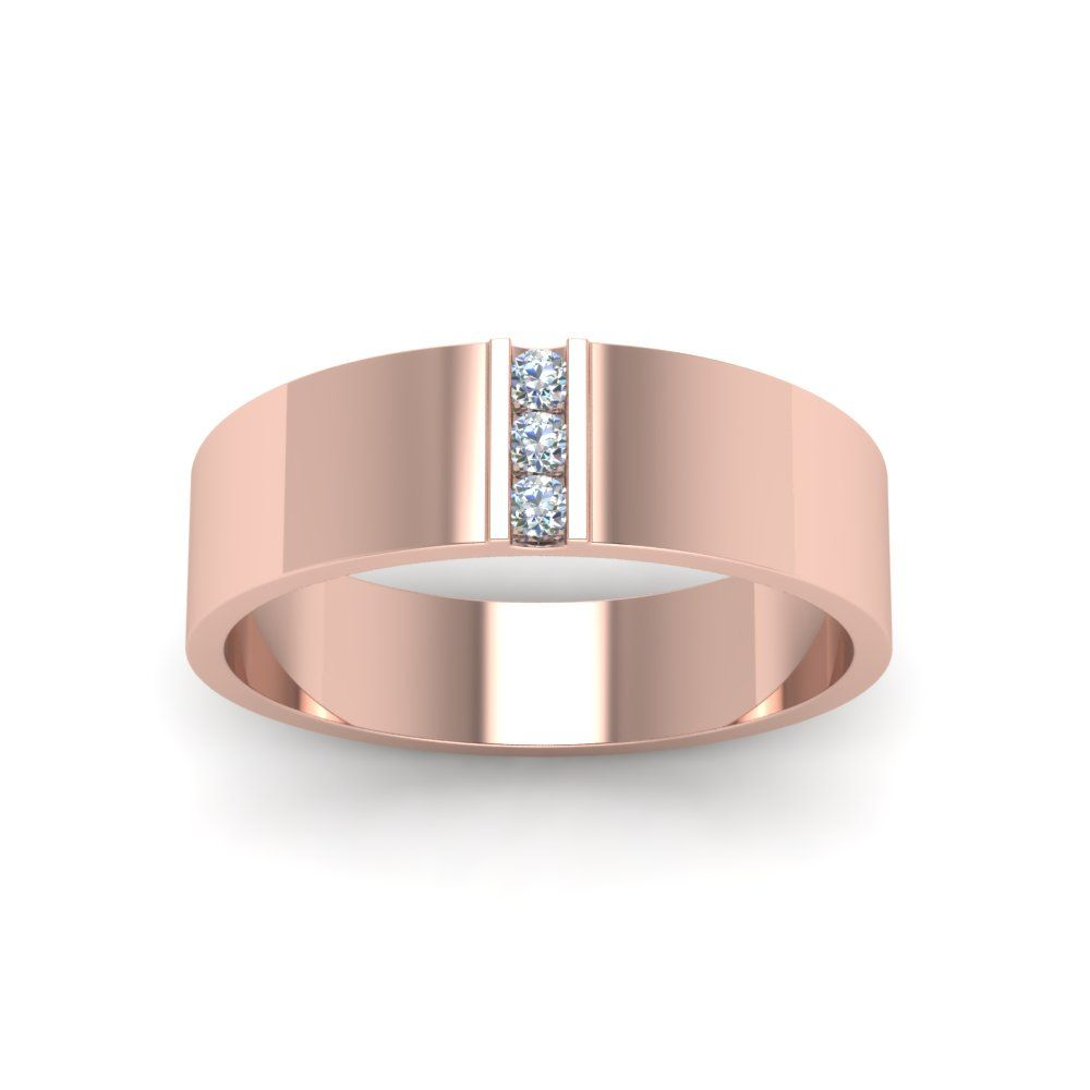 3 Stone Diamond Wedding Anniversary Band For Men In 14k Rose Gold Rose Gold Oval Engagement Ring Men Diamond Ring Mens Gold Wedding Band