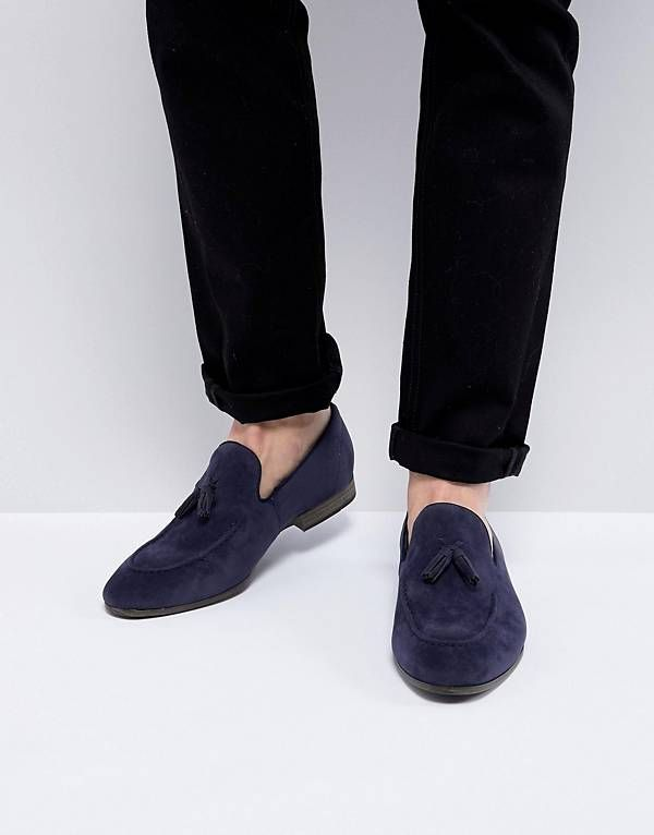 ASOS DESIGN loafers in suede with geo-tribal detail bjq2NuwPf