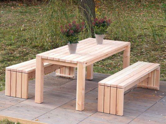 Gartenmobel Holz Set 3 Douglasie Natur Garten Pinterest