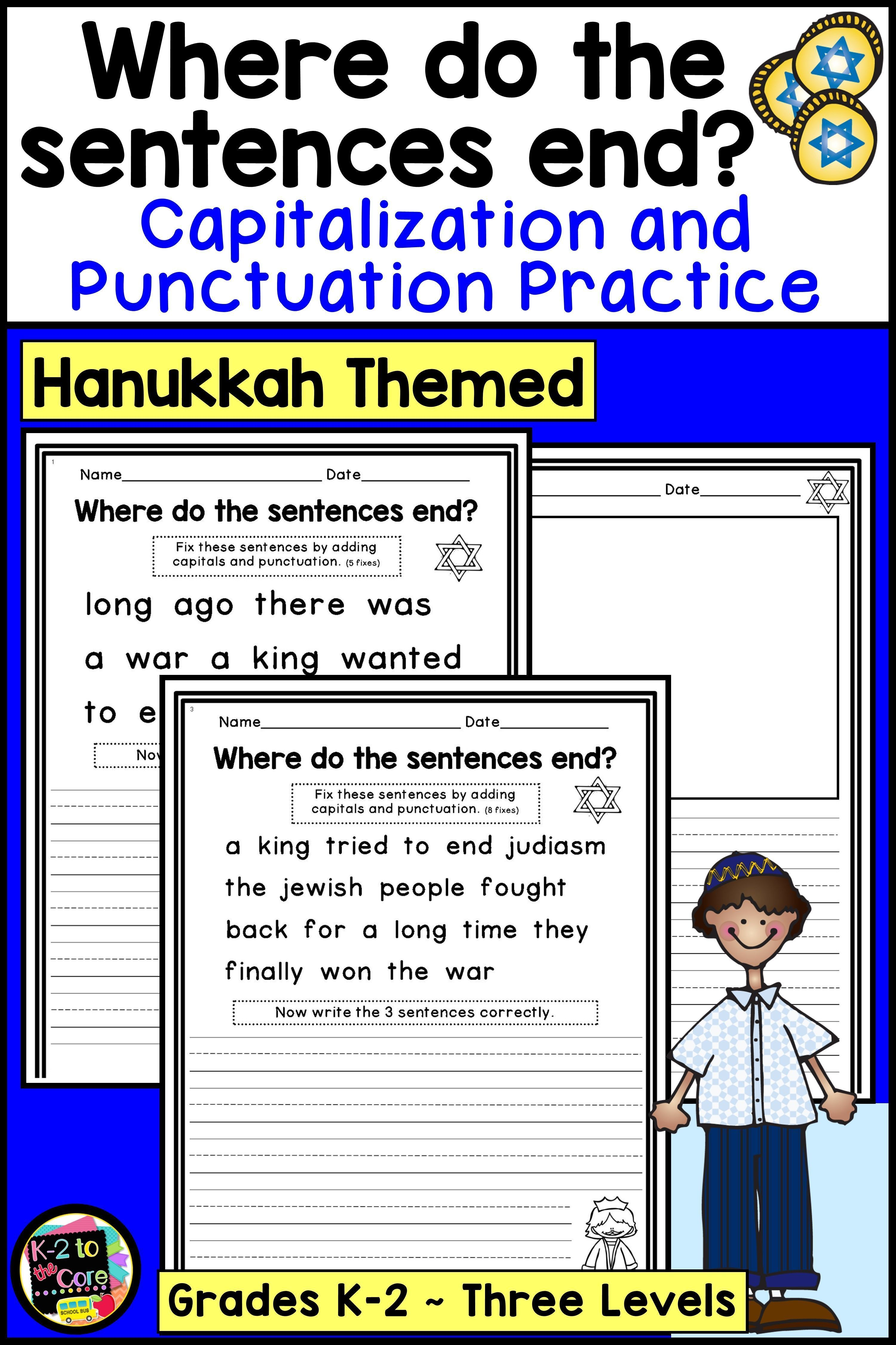 Hanukkah Writing Activity Including Capitalization And