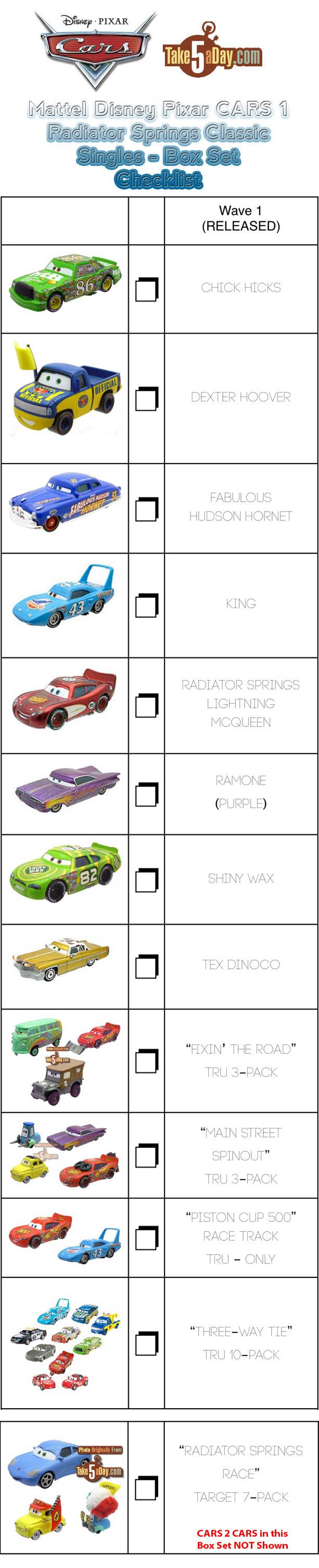Design of a car radiator - Disney Cars Checklist With Pictures Mattel Disney Pixar Cars Radiator Springs Classic Cars 1