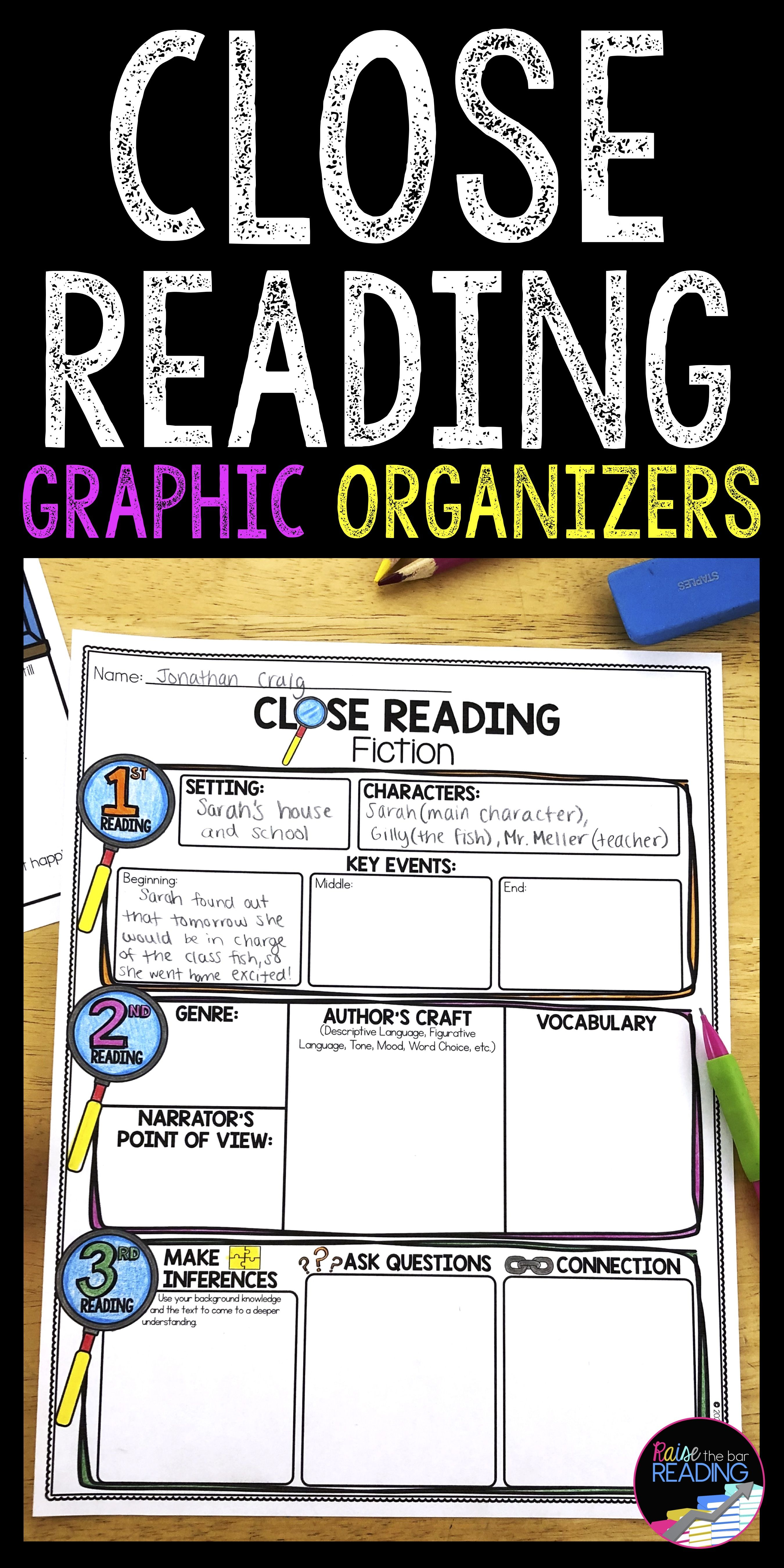 Close Reading Graphic Organizers Close Reading Worksheets