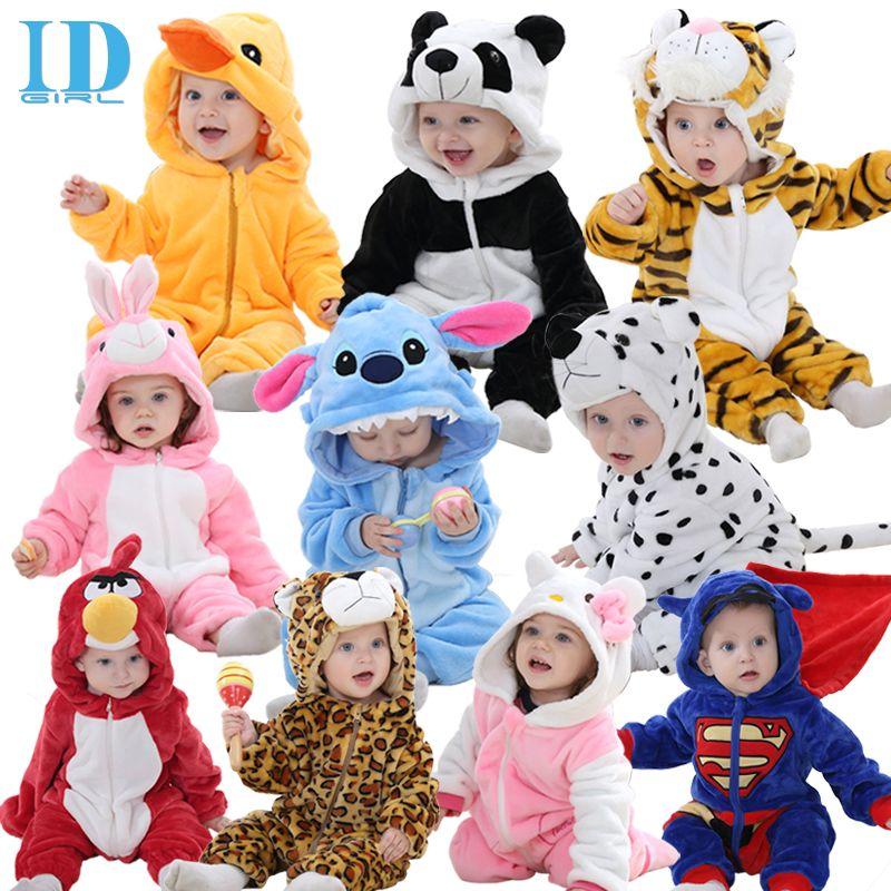 3877639d9748f Pas cher Idgirl printemps automne vêtements de bébé en flanelle bébé garçon  vêtements combinaison Animal Cartoon bébé fille barboteuses bébé vêtements  ...