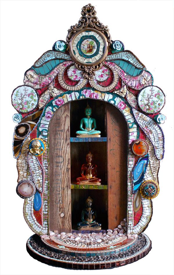 """Sue Wechsler: Three Buddhas – 2009 44″ tall X 23″ wide X 21.5"""" deep"""