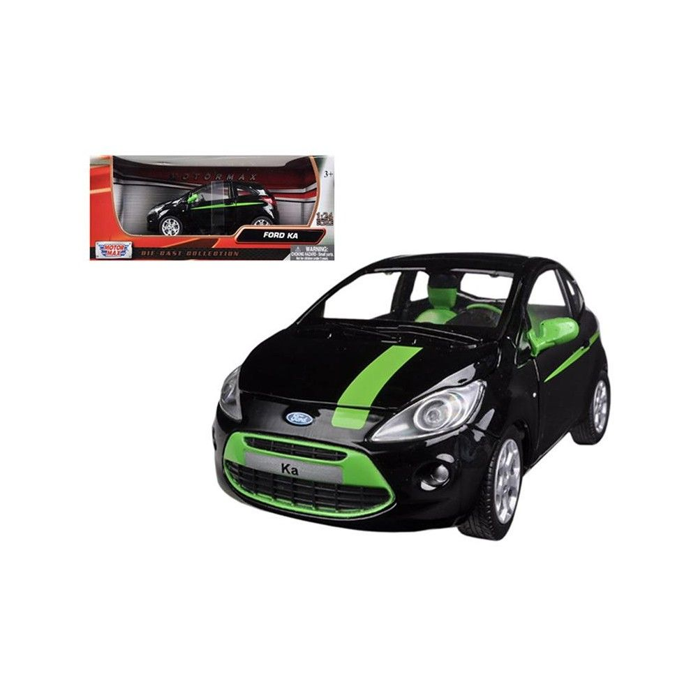 Ford Ka Black Green 1 24 Diecast Car Model By Motormax Diecast
