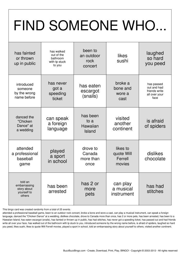 Get To Know You | Getting To Know You! Bingo Cards To Download