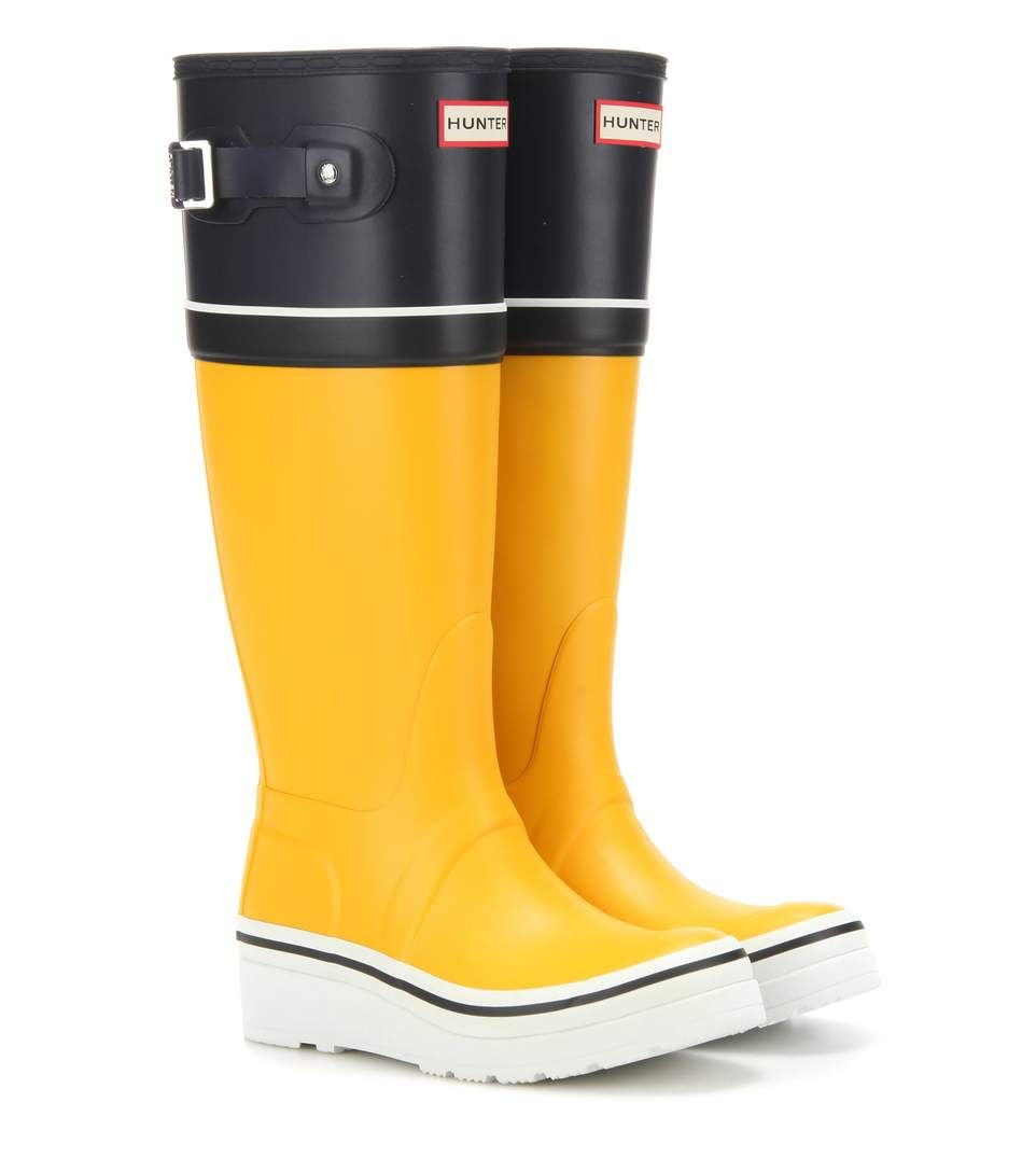 Original Tall Buoy Stripe Wedge yellow, navy and white rubber boots