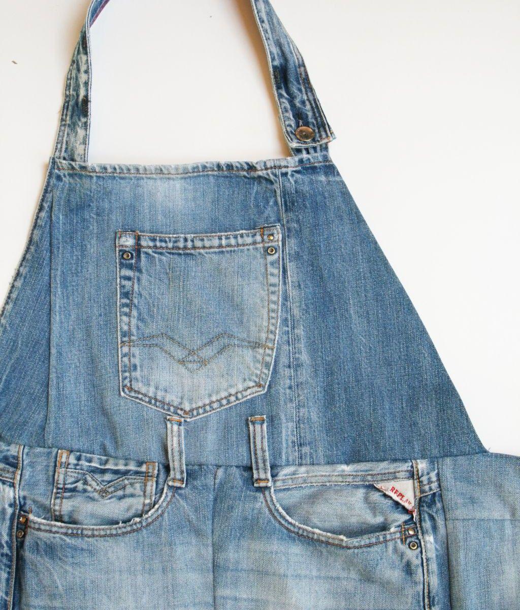 diy denim apron from old jeans denim pinterest. Black Bedroom Furniture Sets. Home Design Ideas