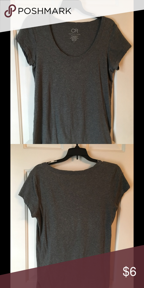Scoop neck tee Gray scoopneck tee by Charlotte Russe. In  excellent condition. No flaws. Size small. Charlotte Russe Tops
