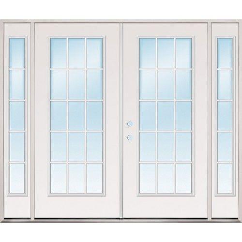 Discount 8 0 Wide 15 Lite Steel Patio Prehung Double Door Unit With Sidelites French Doors Patio Double Doors Double Patio Doors