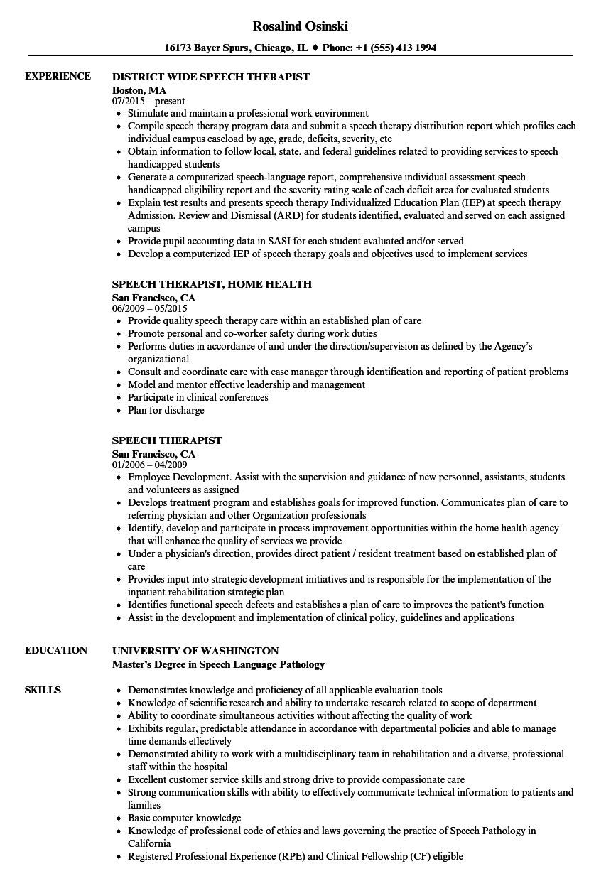 Speech Therapist Resume Samples in 2020 Speech and