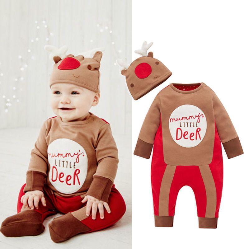 Christmas Newborn Baby Boy Girl Reindeer Costume Clothes Romper